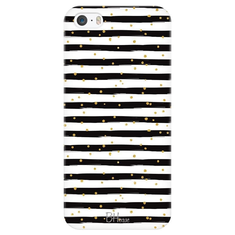 Stripes Gold Black White Case iPhone SE/5S