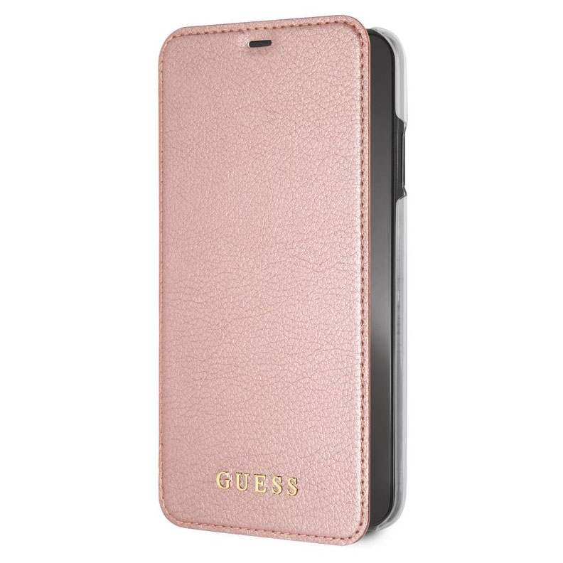 Guess Iridescent Leather Rose Gold Book Case iPhone XS Max