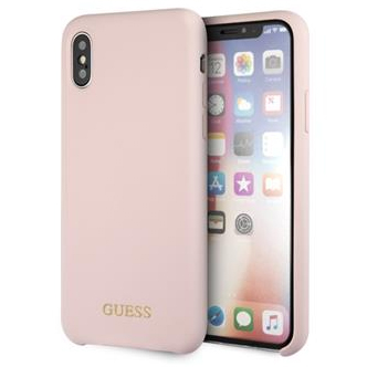 Guess Silicone Gold Logo Light Pink Case iPhone X/XS
