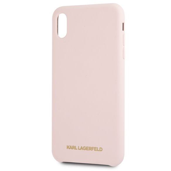 Karl Lagerfeld Gold Logo Silicone Pink Case iPhone X/XS
