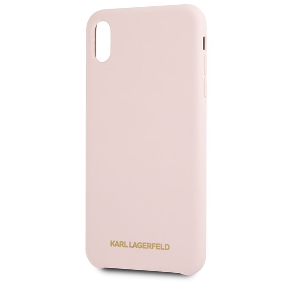Karl Lagerfeld Gold Logo Silicone Pink Case iPhone XR