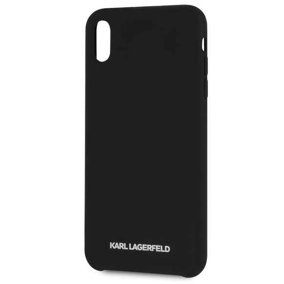 Karl Lagerfeld Silver Logo Silicone Black Case iPhone XR