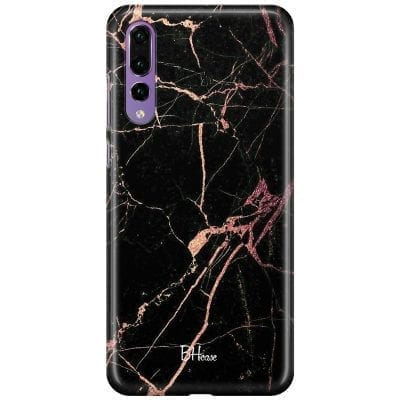 Black Rose Marble Case Huawei P20 Pro