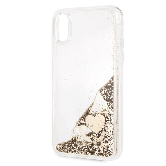Guess Glitter Hearts Gold Case iPhone XR