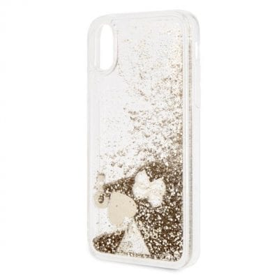 Guess Liquid Glitter Hearts Gold Case iPhone X/XS
