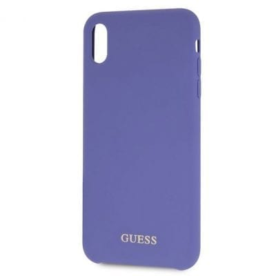Guess Silicone Gold Logo Purple Case iPhone XS Max
