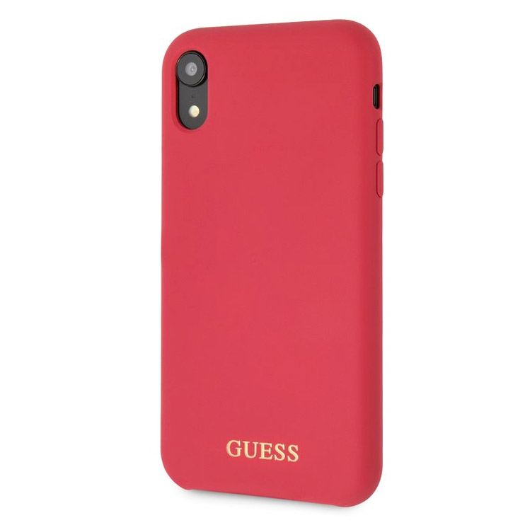 Guess Silicone Gold Logo Red Case iPhone XR