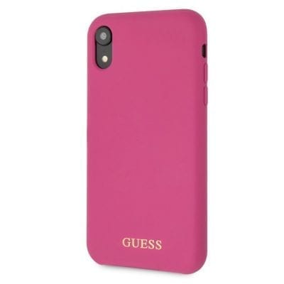 Guess Silicone Gold Logo Pink Case iPhone XR