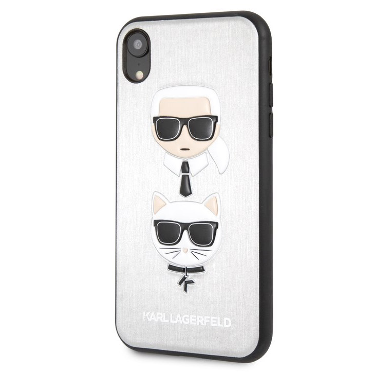 Karl Lagerfeld Karl And Choupette Silver Hard Case iPhone XR