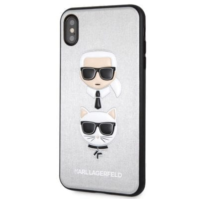 Karl Lagerfeld Karl And Choupette Silver Hard Case iPhone XS Max