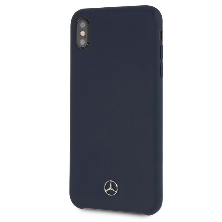 Mercedes Silicone Lining Navy Blue Case iPhone XS Max
