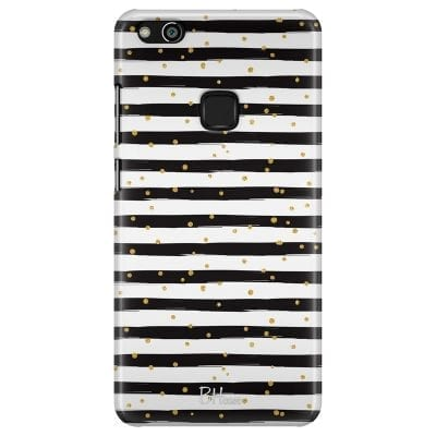 Stripes Gold Black White Case Huawei P10 Lite