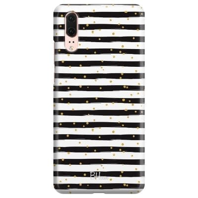 Stripes Gold Black White Case Huawei P20