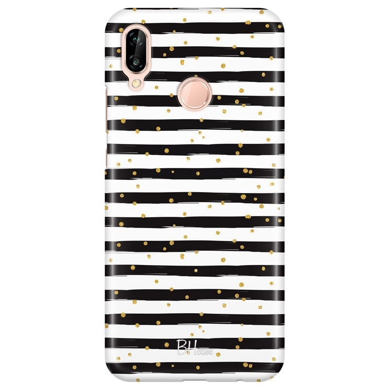 Stripes Gold Black White Case Huawei P20 Lite/Nova 3E