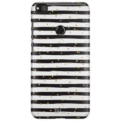 Stripes Gold Black White Case Huawei P8 Lite