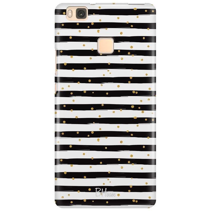 Stripes Gold Black White Case Huawei P9 Lite