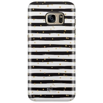 Stripes Gold Black White Case Samsung S7 Edge