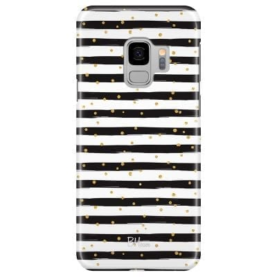 Stripes Gold Black White Case Samsung S9