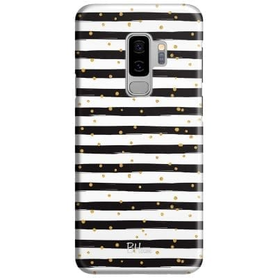 Stripes Gold Black White Case Samsung S9 Plus