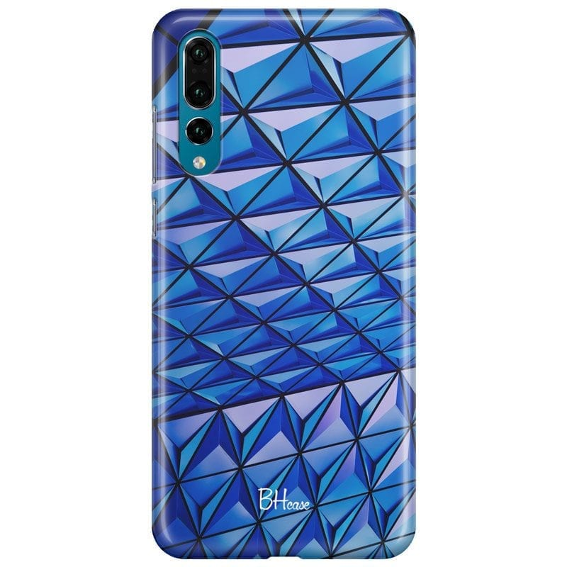 Blue Triangles Case Huawei P20 Pro