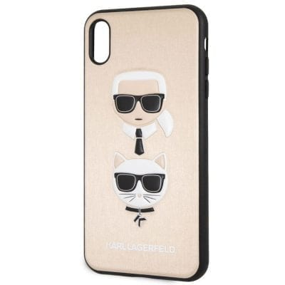 Karl Lagerfeld Karl And Choupette Gold Hard Case iPhone XS Max