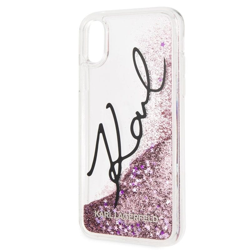 Karl Lagerfeld Signature Glitter Star Pink Case iPhone X/XS