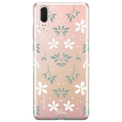 White Floral Case Huawei P20