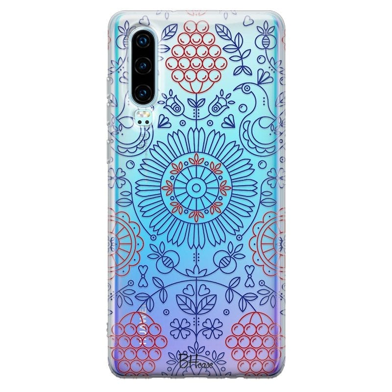 Blue Red Ornaments Case Huawei P30