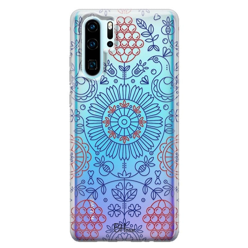Blue Red Ornaments Case Huawei P30 Pro