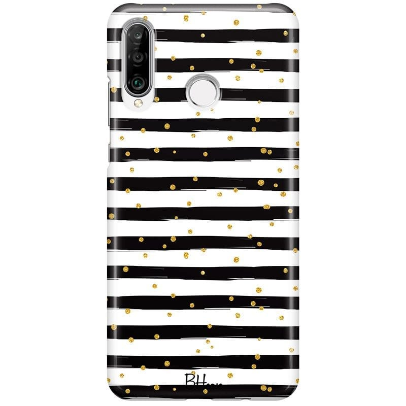 Stripes Gold Black White Case Huawei P30 Lite