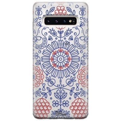 Blue Red Ornaments Case Samsung S10