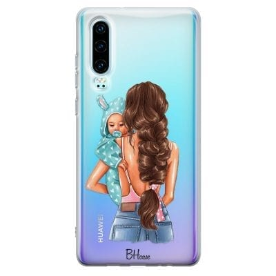 Mother Brunette With Boy Case Huawei P30
