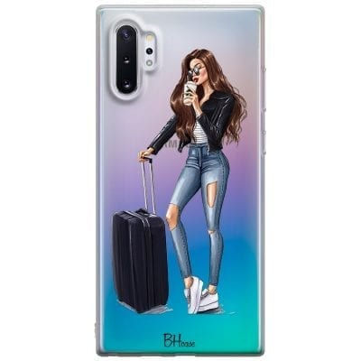 Woman Brunette With Baggage Case Samsung Note 10 Plus
