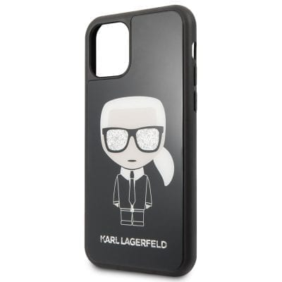 Karl Lagerfeld Glitter Iconic Body Black Case iPhone 11