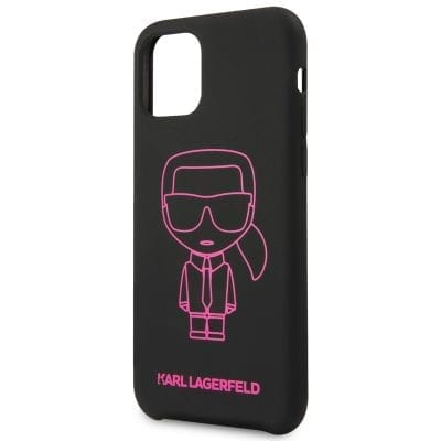 Karl Lagerfeld Silicone Pink Out Black Case iPhone 11