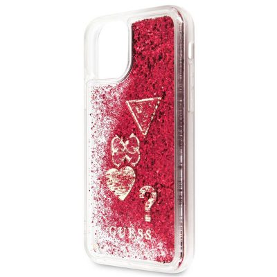Guess Glitter Hearts Rapsberry Case iPhone 11