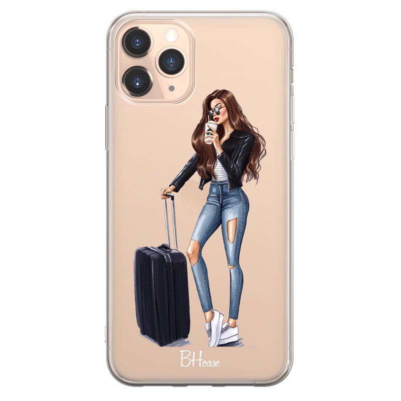 Woman Brunette With Baggage Case iPhone 11 Pro